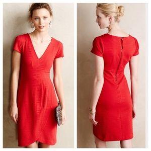 Anthropologie Split Shade Tulip Hem Red Dress